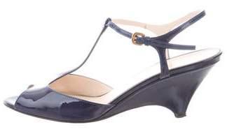 Prada Patent Leather T-Strap Sandals