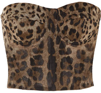 Dolce & Gabbana Leopard-print Cotton-tulle Bustier Top - Leopard print