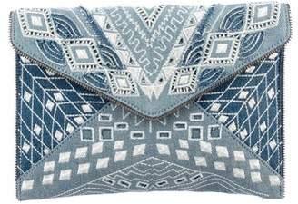 Rebecca Minkoff Embroidered Denim Leo Clutch