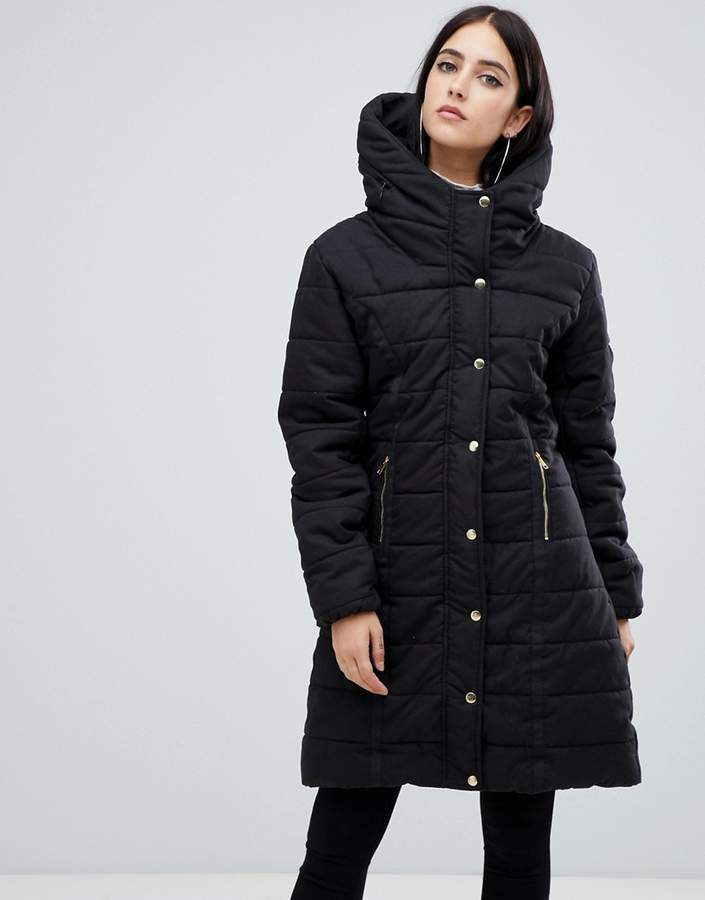 belted padded jacket with faux fur lining