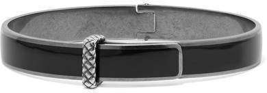 Bottega Veneta Bottega Veneta - Oxidized Silver Enamel Bangle - Black