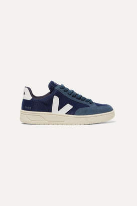 Veja Net Sustain V-12 Leather-trimmed Mesh And Suede Sneakers - Navy
