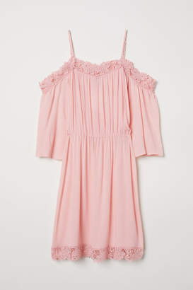 H&M Open-shoulder Dress - Pink