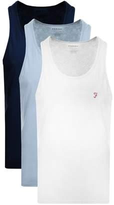 Farah Vestire 3 Pack Vest T Shirts Navy