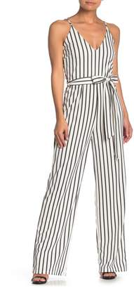 Blvd Striped Sleeveless Tie Jumpsuit