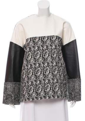 Celine Leather-Accented Patterned Top
