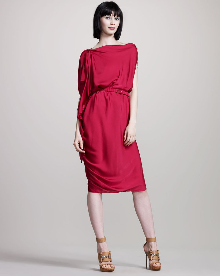 Lanvin Drapey Stretch-Silk Dress