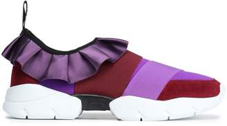 Emilio Pucci Ruffle-trimmed Neoprene And Suede Slip-on Sneakers