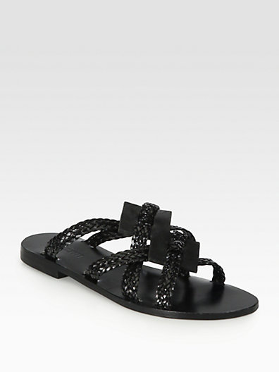 Pollini Woven Leather Sandals