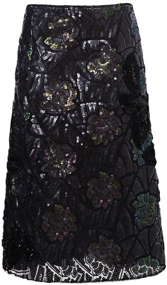 Marc Jacobs Forest And Charcoal Beautiful Lotus Sequin Embroidered Skirt