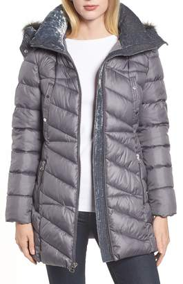Andrew Marc Faux Fur Trim Puffer Jacket