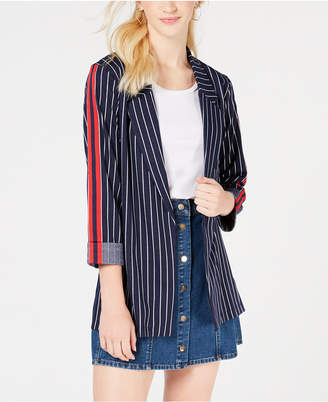 Almost Famous Juniors' Pinstriped Blazer Jacket