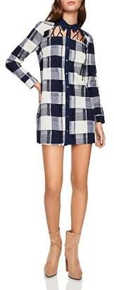 BCBGeneration Cutout Plaid Shirt Dress
