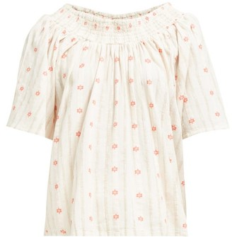 Ace&Jig Marisol Ruched Neck Cotton Top - Womens - Ivory