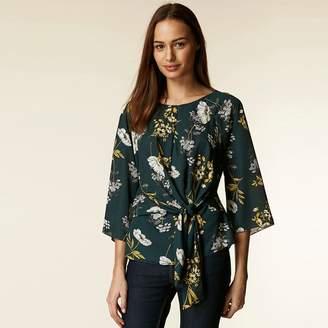 Wallis - Green Floral Tie Front Blouse