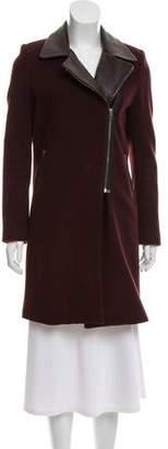 Mason Leather-Accented Knee-Length Coat