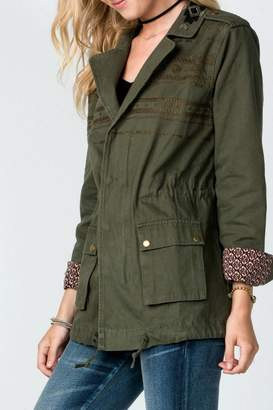 Miss Me Embroidered Olive-Cargo Jacket