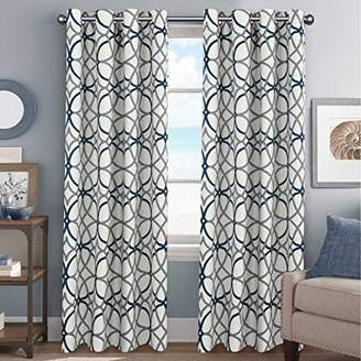 Elegant Natural Feeling Curtains Thermal Insulated Blackout Drape Home Décor Beautiful Window Treatment for Kid's Room- 52 inch Width by 96 inch Length- Set of 2 Panels- Grey and Navy Geo Pattern