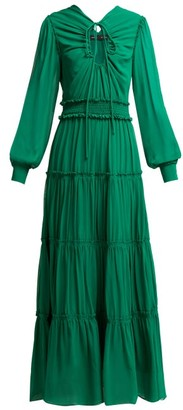 Proenza Schouler Ruffled Long Silk Dress - Womens - Dark Green