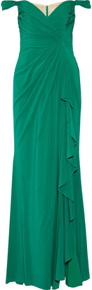 Badgley Mischka Draped off-the-shoulder silk-chiffon gown $850 thestylecure.com