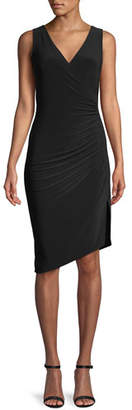 Norma Kamali MJ Sleeveless V-Neck Dress w/ Draped Side