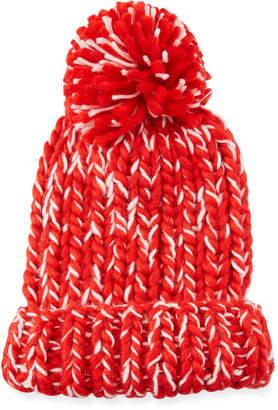 San Diego Hat Company Chunky Marled Knit Beanie w/ Pompom, Red