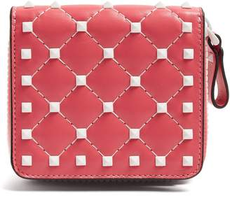 Valentino Free Rockstud zip-around quilted-leather wallet