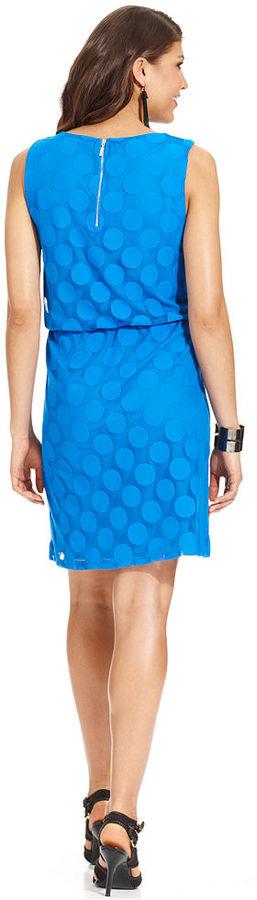 Style&Co. Petite Dress, Sleeveless Dot-Pattern Lace Blouson