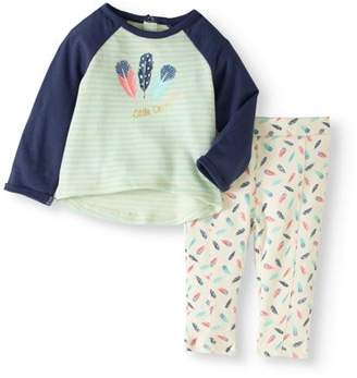 Quiltex Newborn Baby Girls' Feather Print Tunic and Leggings 2-Piece Outfit Set
