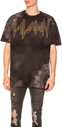 Balmain Gothic Destroyed Logo Oversized Tee