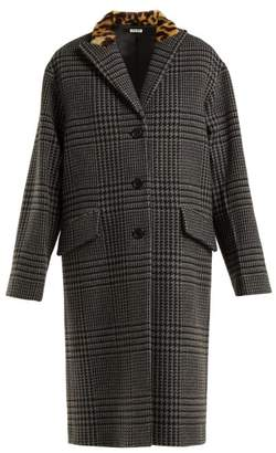 Miu Miu Single Breasted Wool And Faux Fur Coat - Womens - Grey
