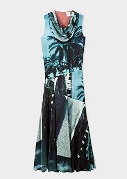 Women's 'Paul's Photo' Print Cowl Neck Midi Dress