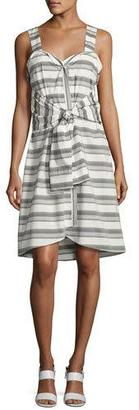 Derek Lam 10 Crosby Sleeveless Striped Tie-Front Poplin Dress, White $395 thestylecure.com