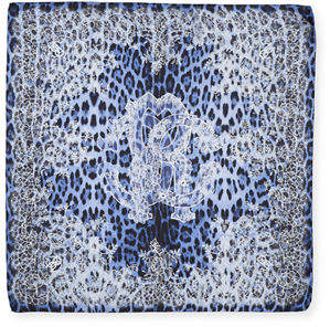 Roberto Cavalli Foulard Animal & Floral Silk Scarf