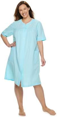 Miss Elaine Plus Size Essentials Short Seersucker Snap Robe 299c975b7