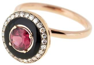 Selim Mouzannar Round Rhodolite, Black Enamel And Diamond Pavé Ring