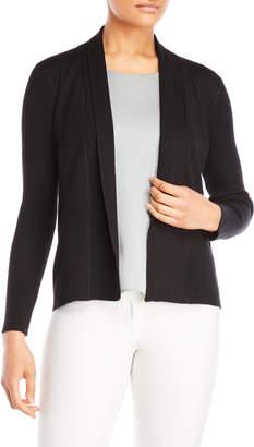 Joan Vass Ribbed Long Sleeve Open Cardigan