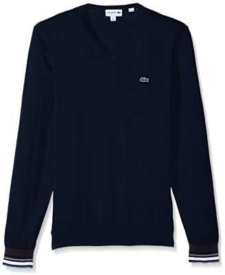 Lacoste Men's Semi Fancy Cotton Jersey V Neck Sweater