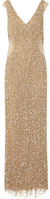 Naeem Khan Embellished Chiffon Gown - Gold