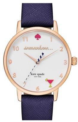 Women's Kate Spade New York 'Metro - Somewhere' Leather Strap Watch, 34Mm $195 thestylecure.com