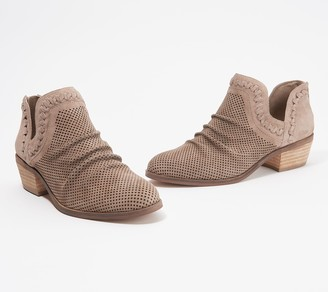 Vince Camuto Perforated Suede Ankle Booties - Palmina