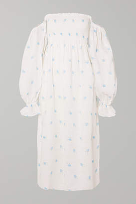 0fb294b01d Sleeper - Atlanta Off-the-shoulder Shirred Printed Linen Midi Dress - White