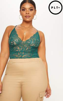 PrettyLittleThing Plus Dark Green Sheer Lace Bodysuit