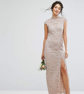 TFNC Wedding High Neck Lace Dress With Cap Sleeve