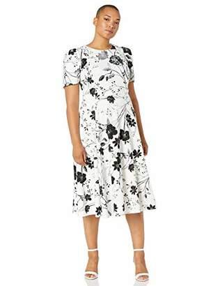 Calvin Klein Women's Plus Size Short Sleeve A-Line Midi Dress