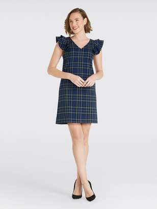 Draper James Plaid Ruffle Shoulder Dress