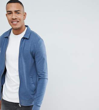 Asos DESIGN tall muscle jersey harrington jacket in dark denim marl