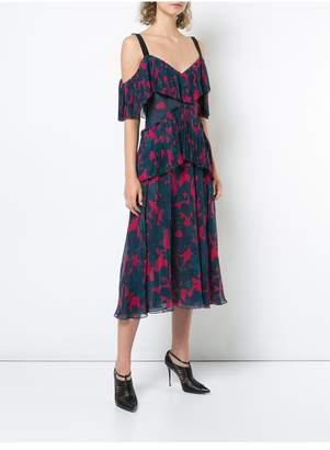 Jason Wu Printed Chiffon Cold Shoulder Cocktail Dress