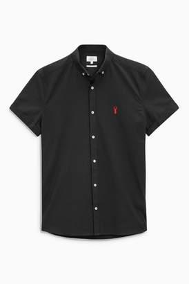 Next Mens Burgundy Slim Fit Short Sleeve Stretch Oxford Shirt