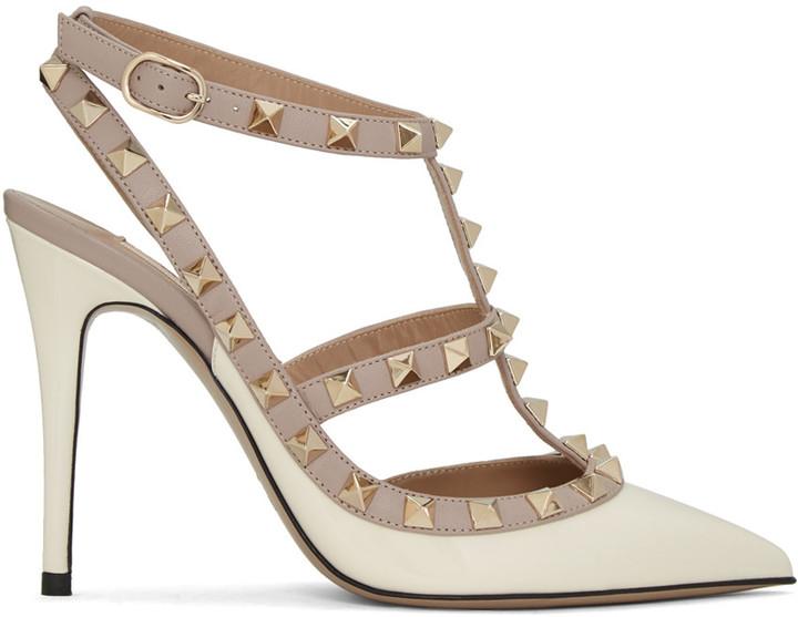 Valentino Ivory Patent Rockstud Cage Heels